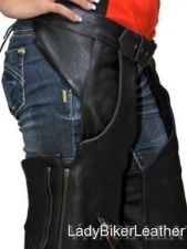 Buy Mens LADIES BIKER Black NAKED Leather MOTORCYCLE Chaps OVER Pants DOUBLE ZIPPERS