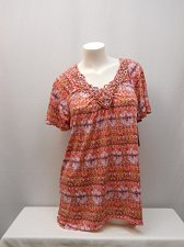 Buy SIZE L Womens Tunic Top WHITE STAG Geometric Print Macrame V-Neck Sharkbite Hem