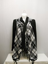 Buy SIZE 20 Womens Wrap Swing Flyaway Cardigan FADED GLORY Black Plaid Long Sleeves