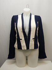 Buy Women Lined Blazer PLUS SIZE 2X Navy White Color Block Long Sleeves Pocket DAISY