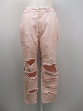 Buy SIZE 20 Womens Destroyed Distressed Jeans STEFANO Pink High Waist Tapered Legs