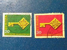 Buy Europa Germany Set of 2 Stamp 1968 Used key with the CEPT logo in handle
