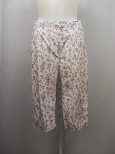 Buy SIZE 18P Women Cotton Capris AMERICAN SWEETHEART White Floral Elastic Waist