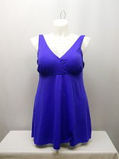 Buy SIZE 18 Women 1PC Wrap Front Swimdress SWIM365 Solid Cobalt Blue V-Neck Tummy Co
