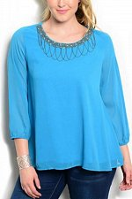 Buy PLUS SIZE 1XL 2XL 3XL Womens Top C.O.C. Solid Turquoise Embellished Beaded Neck