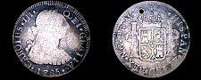 Buy 1785NG M Guatemalan 2 Reales World Silver Coin - Guatemala - Charles III- Holed