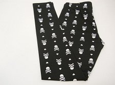Buy SIZE M Women Skull Leggings Black Halloween Gothic Skinny Leg Mid Rise Inseam 29