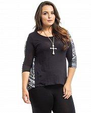 Buy Women Knit Top Size 1XL HOT GINGER Black Paisley Scoop Neck 3/4 Sleeve Hi-Lo Hem