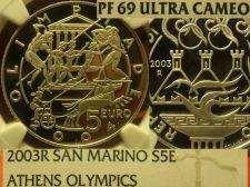 Buy San Marino 2003-R 5 Euro NGC Proof-69 Ultra Cameo~Athen Olympics~Highest~Fr/Shi