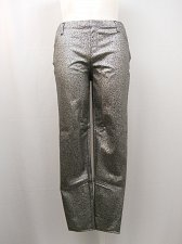 Buy Women Jeggings Size XL 16-18 Coated Foil Print Back Pockets Silver Skinny Legs