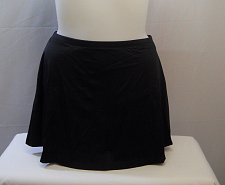 Buy SIZE 16 Women Swim Skirt AQUABELLE Solid Black Chlorine Resistant Stretch Fabric