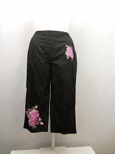 Buy SIZE 18 Women Cotton Capris AMERICAN SWEETHEART Black Floral Elastic Waist