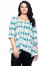 Buy PLUS SIZE 1XL 2XL 3XL 4XL Womens Tunic Top HOT GINGER Blue Tie Dye ¾ Sleeves Key