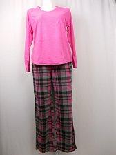 Buy SIZE XL Women 2PC Microfleece PJ Set SECRET TREASURES Pink Plaid Long Sleeves