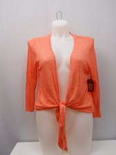 Buy Womens Wrap Shrug Slub Tie Front SIZE 20 FADED GLORY Solid Coral 3/4 Sleeves
