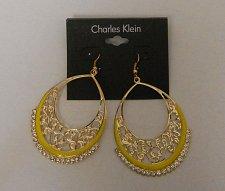Buy Women Fashion Drop Dangle Earrings Gold Yellow Rhinestones CHARLES KLEIN Hook