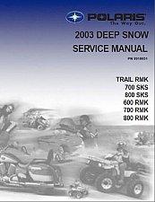 Buy 2003 Polaris Trail RMK Edge SKS 600 700 800 Snowmobiles Service Manual on a CD