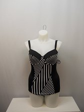 Buy SIZE 16 Women 1PC Striped Retro Swimsuit TROPICULTURE Underwire Sweetheart Neck
