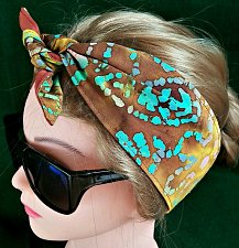 Buy Headband hair wraptie bandana batik print brown yellow green 100% Cotton