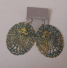 Buy Women Fashion Drop Dangle Earrings Green Gold Metal Ovals FASHION JEWLERY Hook