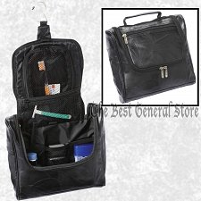 Buy Hanging Black Lambskin Leather Toiletry Travel Organizer Bag Makeup Shaving