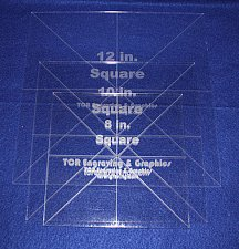 """Buy 3 Pc Square Set 8"""", 10"""", 12"""" - 1/8"""" Clear Acrylic - Quilting Templates- No seam"""