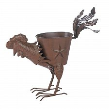 Buy *17250U - Rooster Planter Split Tail Feather Weathered Brown Iron Pot