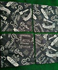 Buy 100% Cotton Dinner napkins handmade black with Coffee Latte motif set of 4