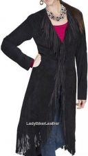 Buy Ladies VELVETY Soft SUEDE Leather FRINGE Maxi Coat In BROWN TURQUOISE or BLACK