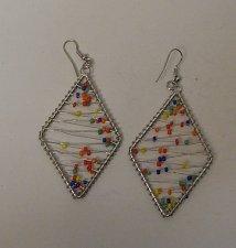 Buy Women Fashion Drop Dangle Earrings Silver Wired Multi Color Beads ZONE Hook