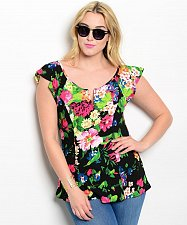Buy Womens Top Size 2XL 3XL VIVA YOU BlackFloral Cap Sleeves Scoop Neck Fitted Waist