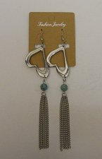 Buy Women Drop Dangle Fashion Earrings Silver Hearts Chains Beads FASHION JEWELRY
