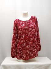 Buy Womens Peasant Top SIZE S FADED GLORY Paisley Red Long Raglan Sleeves Pullover