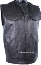 Buy SOA Biker NO COLLAR Black PREMIUM Leather CONCEALED CARRY Motorcycle CLUB Vest