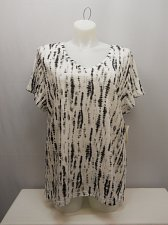 Buy PLUS SIZE 3X Womens Knit Top STYLE&CO White Combo Tie-Dye Short Sleeves V-Neck