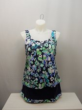 Buy SIZE 22 Women 2PC Swimsuit Skirtini Set SWIM 365 Blue Green Floral Scoop Neck