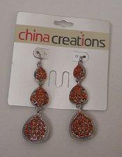 Buy Women Fashion Drop Dangle Earrings 3 Red Teardrops CHINA CREATIONS Hook