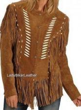 Buy LADY BIKER Boned BEADED Brown OR Black SOFT SUEDE Leather WESTERN FRINGE Jacket