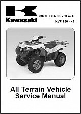 Buy 2005-2006-2007 Kawasaki Brute Force 750 4X4i / KVF750 4X4 Service Manual on CD