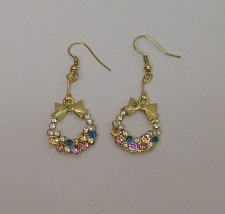 Buy Women Drop Dangle Fashion Earrings Rhinestone Wreath Gold Tones Hook Fasteners