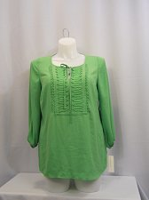 Buy Women Top Plus Size 0X Solid Green CHARTER CLUB 3/4 Sleeves Bibbed Tied Front