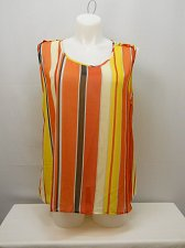Buy SIZE 3XL Women Sheer Tank Cami Top Multi Color Striped Scoop Neck Sleeveless