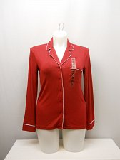 Buy SIZE M Women Sleep Shirt ALFANI Button Front Solid Red Long Sleeves Collared Nec