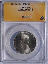 Buy 1964 Vatican City 500 Lire World Silver Coin - Catholic Church Italy ANACS MS63