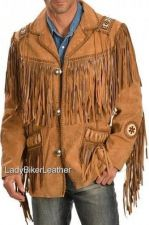 Buy Mens Biker BEADED Brown PREMIUM Soft SUEDE Leather TRIBAL FRINGE Western Jacket