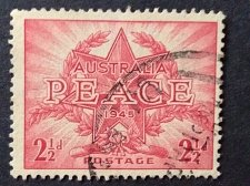Buy Australia's 1V Used Stamp SG213 1945 2 1/2d PEACE AND VICTORY