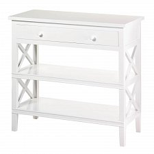 Buy *17258U - Bayside White Pine Wood Console Table 2 Shelf 1 Drawer