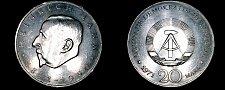 Buy 1971-A German Democratic Republic 20 Mark Coin- East Germany- Heinrich Mann