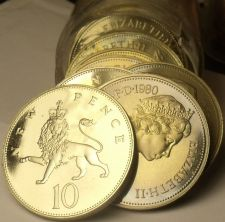 Buy Cameo Proof Roll (20) Large Great Britain 1980 10 Pence Coins~Crowned Lion~Fr/Sh