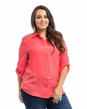 Buy PLUS SIZE 1X 2X 3X Women Button Shirt ROMAN Dark Coral Lattice Detail ¾ Sleeves